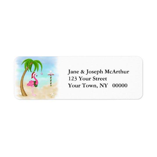 ピンクのフラミンゴの熱帯休日 返信用宛名ラベル