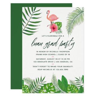 ピンクのフラミンゴの熱帯水彩画のルアウ(ハワイ式宴会)の卒業 カード