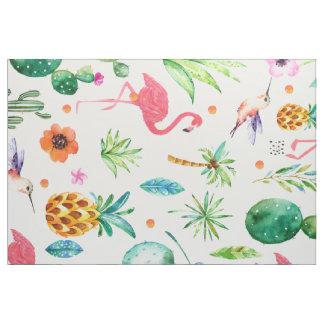 ピンクのフラミンゴの熱帯継ぎ目が無いパターン ファブリック