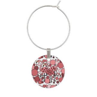 ピンクのフラミンゴの芸術の抽象芸術のワインチャーム ワインチャーム