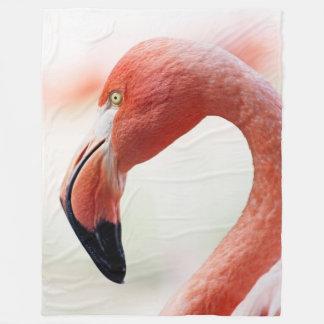 ピンクのフラミンゴの頭部のフリースブランケット フリースブランケット