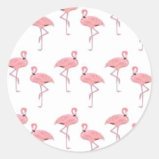 ピンクのフラミンゴパターン ラウンドシール