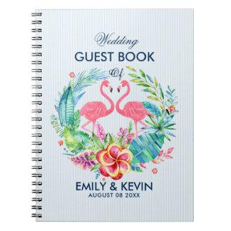 ピンクのフラミンゴ及び熱帯花のリース スパイラルノート