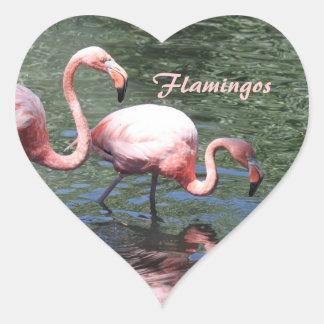 ピンクのフラミンゴ ハート型シール
