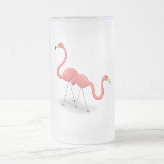ピンクのフラミンゴ フロストグラスビールジョッキ