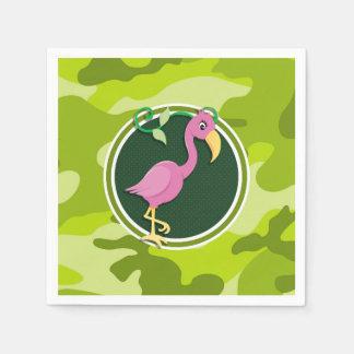 ピンクのフラミンゴ; 若草色の迷彩柄、カムフラージュ スタンダードカクテルナプキン