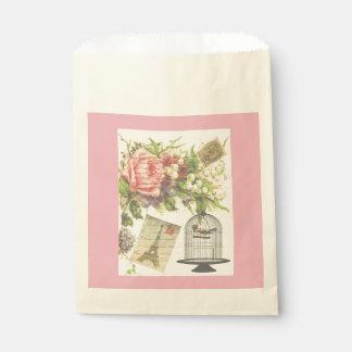 ピンクのフランスのなテーマのヴィンテージのパリの好意のバッグ フェイバーバッグ