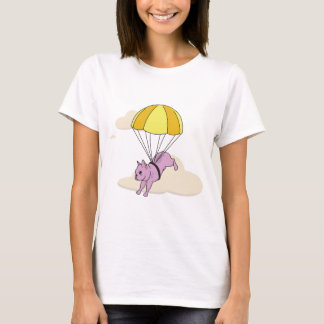 ピンクのフレンチ・ブルドッグの傘のおもしろいのワイシャツ Tシャツ