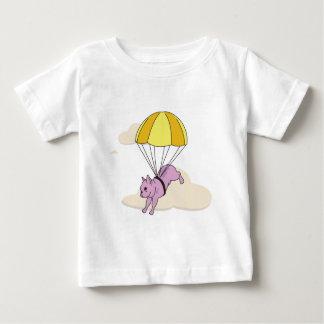 ピンクのフレンチ・ブルドッグの傘のおもしろいの幼児のワイシャツ ベビーTシャツ