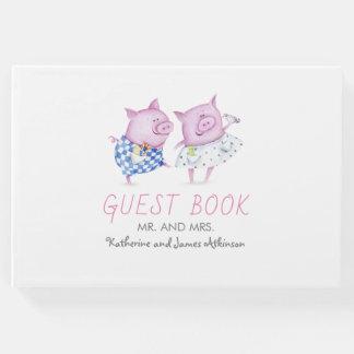ピンクのブタのカップルのかわいい結婚式かパーティー ゲストブック