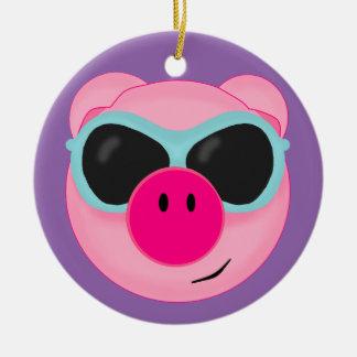 ピンクのブタのクリスマスのオーナメント セラミックオーナメント
