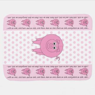 ピンクのブタのベビーブランケット(両面) ベビー ブランケット