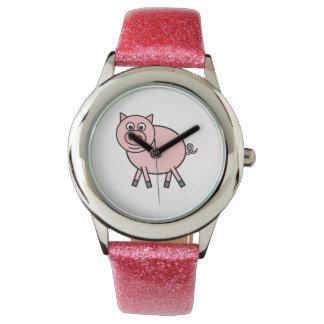 ピンクのブタの漫画 腕時計