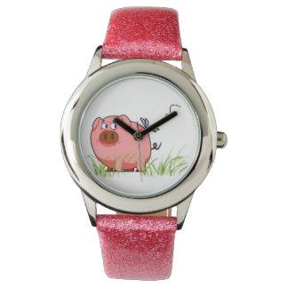 ピンクのブタの腕時計 腕時計