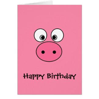 ピンクのブタの顔 グリーティングカード