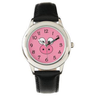 ピンクのブタの顔 腕時計
