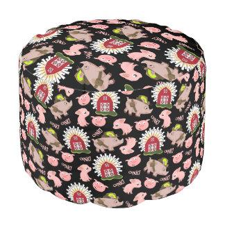 ピンクのブタパターン プーフ