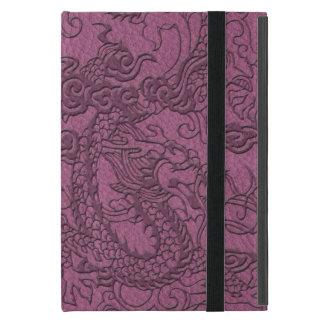 ピンクのブドウの革プリントのエンボスのドラゴン iPad MINI ケース
