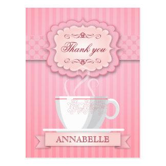 ピンクのブライダルシャワーのお茶会は感謝していしています ポストカード