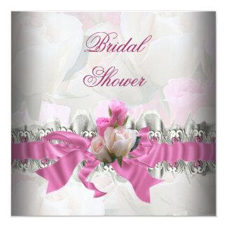 ピンクのブライダルシャワーの白いレースのガーター カード
