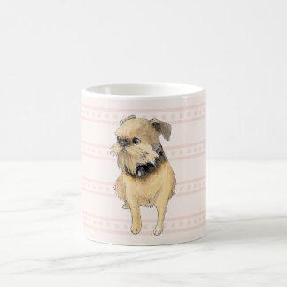 ピンクのブリュッセルGriffonの着席の水彩画 コーヒーマグカップ