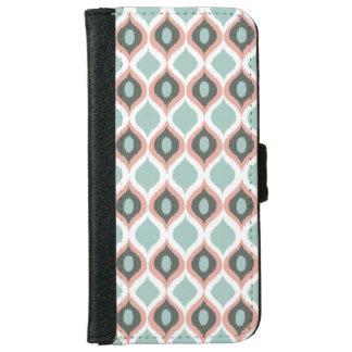 ピンクのブルーグレーの幾何学的なイカットの種族のプリントパターン iPhone 6/6S ウォレットケース