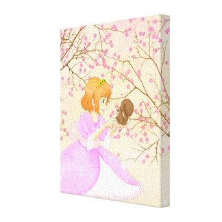 ピンクのプリンセスおよびリスの包まれたなキャンバス キャンバスプリント