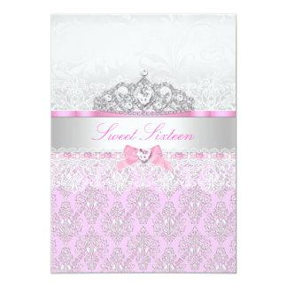 ピンクのプリンセスのティアラ及びレースの菓子16の招待状 12.7 X 17.8 インビテーションカード