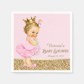 ピンクのプリンセスのバレリーナのピンクの金ゴールドのベビーシャワー スタンダードカクテルナプキン