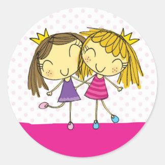 ピンクのプリンセスの友人 ラウンドシール