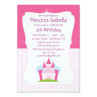 ピンクのプリンセスの城の誕生日 12.7 X 17.8 インビテーションカード