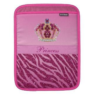 ピンクのプリンセスの王冠のシマウマのプリント iPadスリーブ