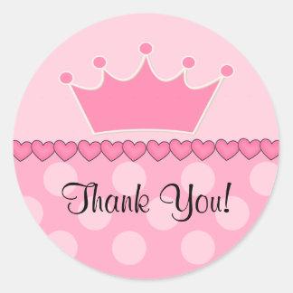 ピンクのプリンセスの王冠はステッカー感謝していしています ラウンドシール