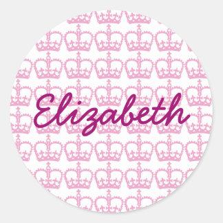 ピンクのプリンセスの王冠 ラウンドシール