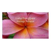 ピンクのプルメリアのマッサージの名刺のテンプレート 名刺