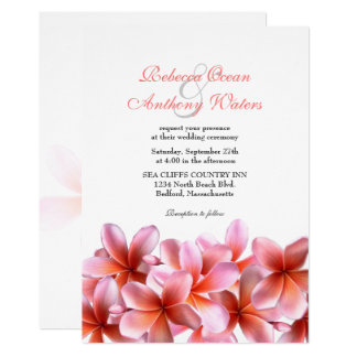 ピンクのプルメリアの熱帯ビーチ結婚式 カード