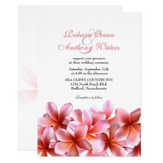 ピンクのプルメリアの熱帯ビーチ結婚式 12.7 X 17.8 インビテーションカード