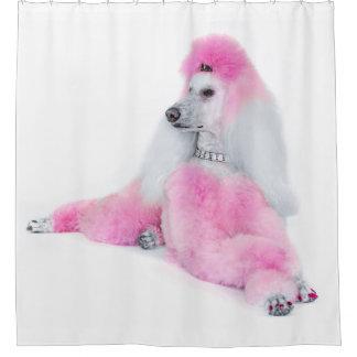 ピンクのプードルのシャワー・カーテン シャワーカーテン
