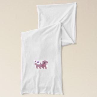 ピンクのプードルのハート スカーフ