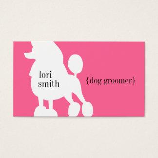 ピンクのプードル犬のトリマーの名刺 名刺