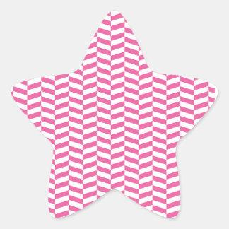 ピンクのヘリンボン 星シール