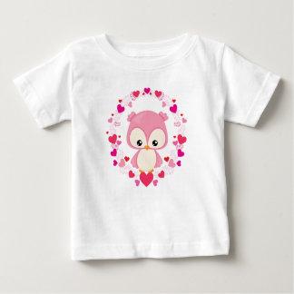 ピンクのベビーのフクロウのTシャツ ベビーTシャツ