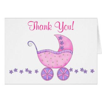 ピンクのベビーカーキャリッジは感謝していしています カード