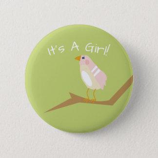 ピンクのベビーシャワーのシックな自然のピンクの鳥の好意Pin 5.7cm 丸型バッジ