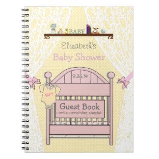 ピンクのベビーシャワーの来客名簿 ノートブック