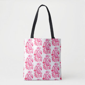 ピンクのペイズリーのフラミンゴ トートバッグ