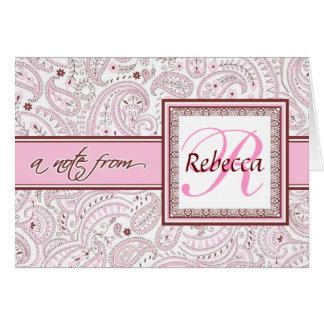 ピンクのペイズリーのモノグラムのな名前 カード