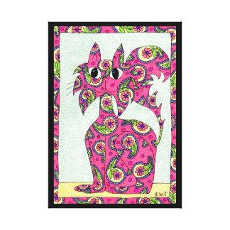 ピンクのペイズリー猫の民芸 キャンバスプリント