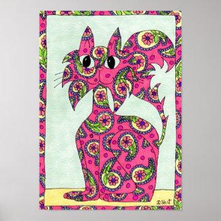 ピンクのペイズリー猫の民芸 ポスター