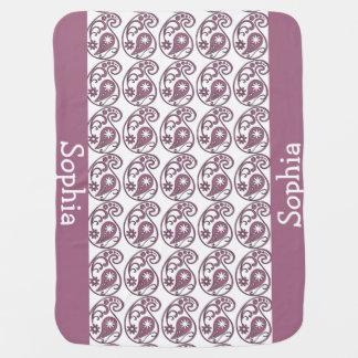 ピンクのペイズリー ベビー ブランケット